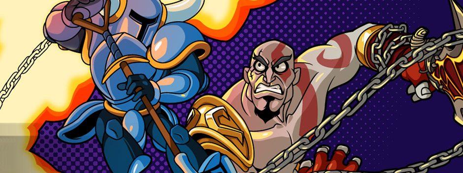 Primer vistazo a Kratos dando guerra en Shovel Knight
