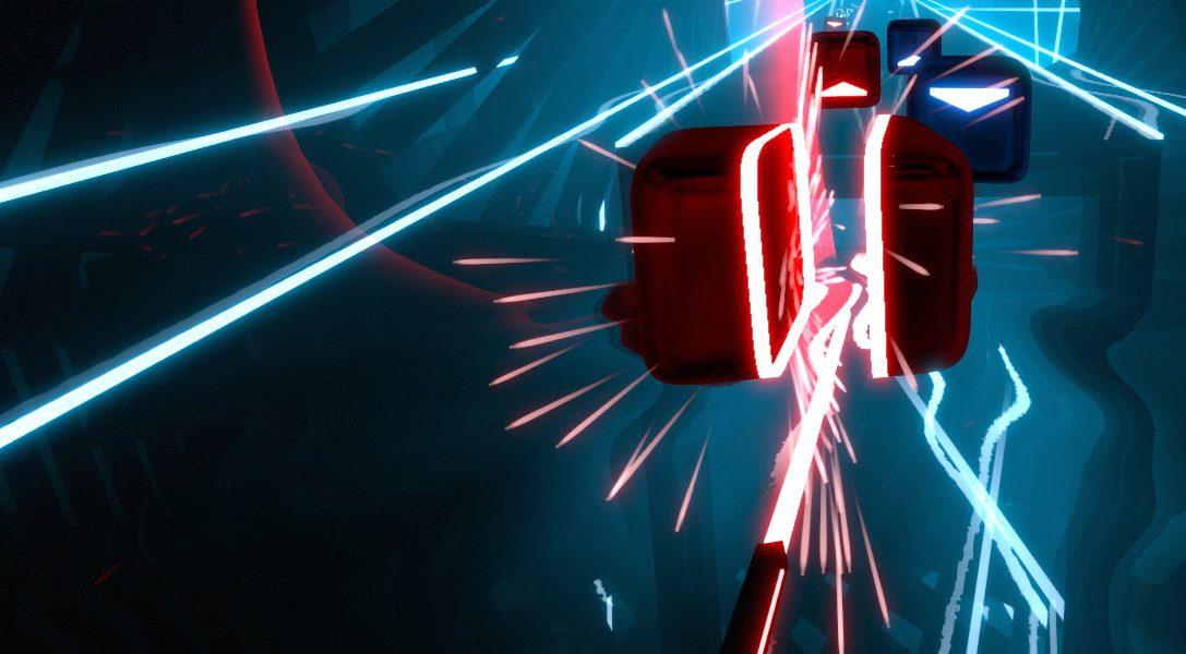 Utiliza PS Move para eliminar bloques en el rítmico juego de acción Beat Saber que llegará para PS VR