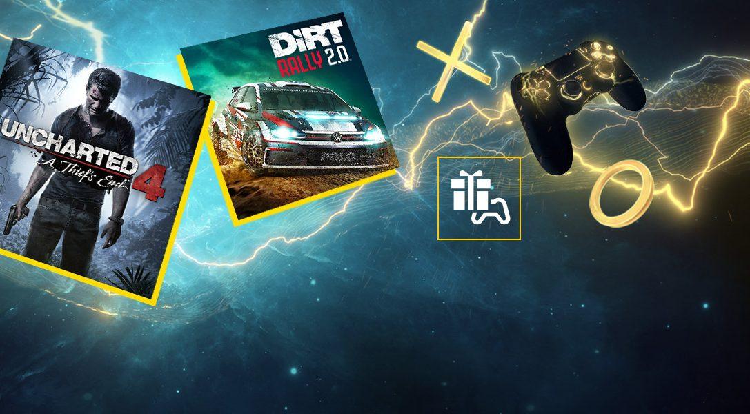 Uncharted 4: El desenlace del ladrón y DIRT Rally 2.0 son tus juegos de PlayStation Plus de abril