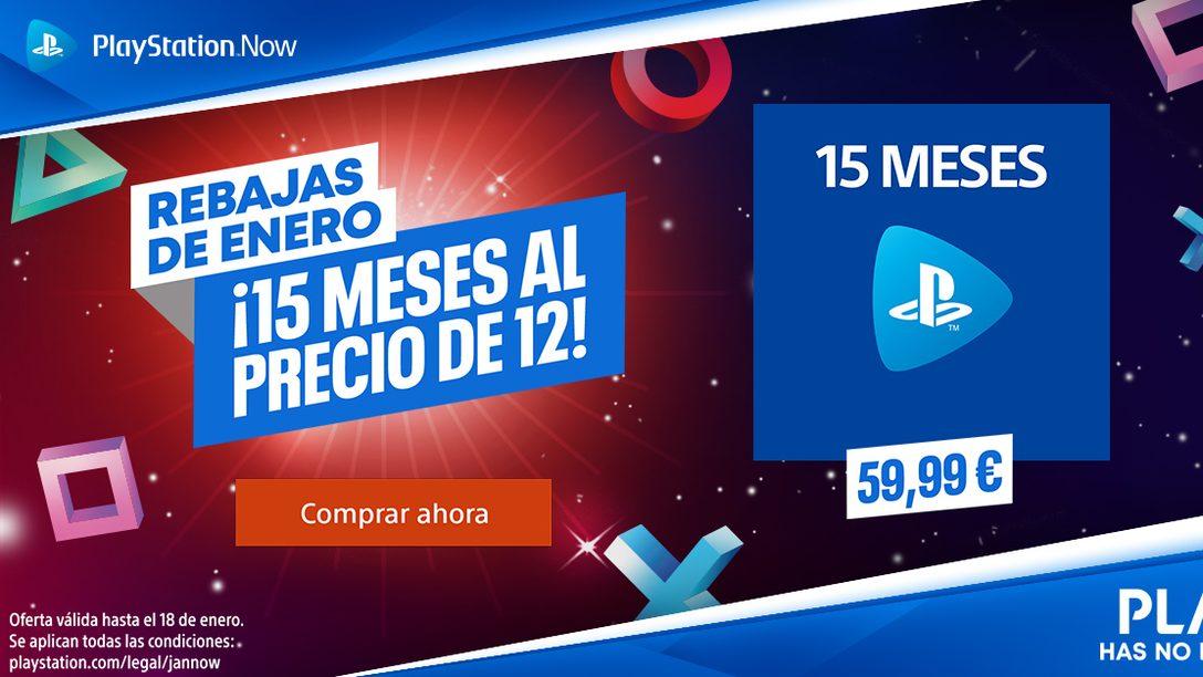 Hasta el 19 de enero hazte con 15 meses de PS Now o PS Plus* por el precio de 12 en PS Store