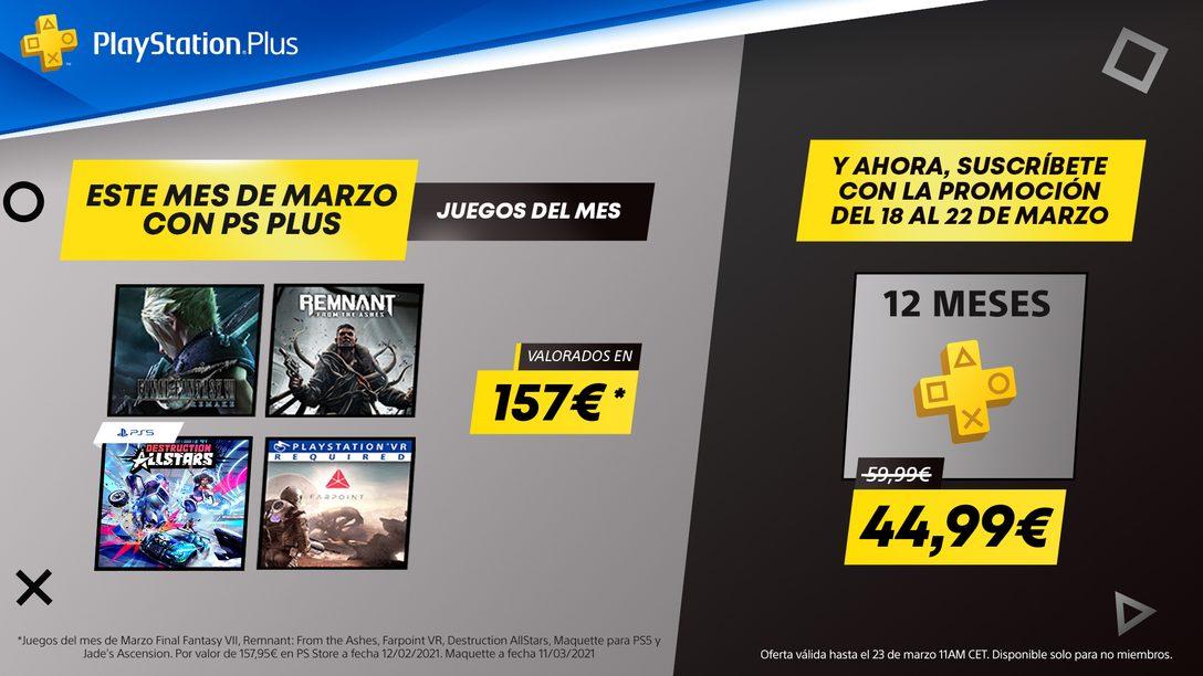 Tus juegos de PS Plus de marzo tienen un valor de 157 €* | Ahorra ahora un 25 % en tu suscripción de 12 meses y no te los pierdas
