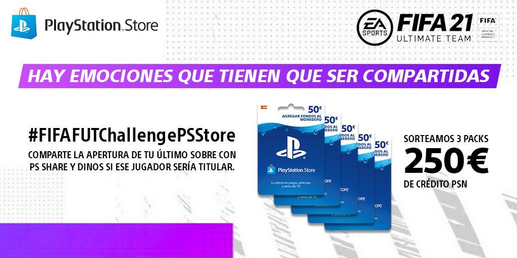 #FIFAFUTChallengePSStore   Comparte tu estrategia en el modo FUT de FIFA 21 en Twitter y gana crédito para PS Store