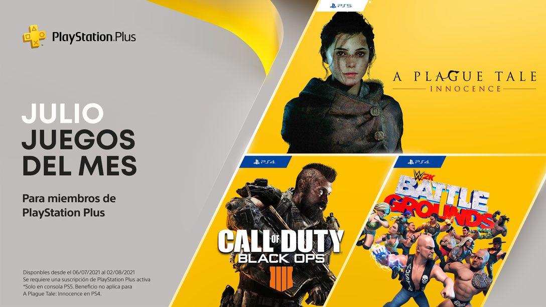 Juegos de PlayStation Plus en julio | Call of Duty: Black Ops 4, WWE 2K Battlegrounds, A Plague Tale: Innocence