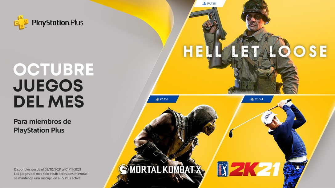 Juegos de PlayStation Plus para octubre: Hell Let Loose, PGA Tour 2K21 y Mortal Kombat X